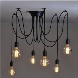 Alfie Lighting AL-6SP 6 Light Suspension Spider Pendant Ceiling Light in Black Finish