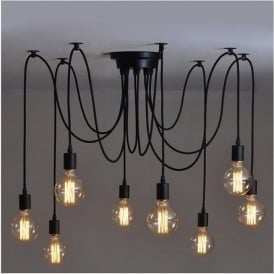 Alfie Lighting AL-8SP 8 Light Suspension Spider Pendant Ceiling Light in Black Finish