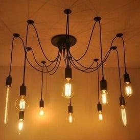 Alfie Lighting AL-10SP 10 Light Suspension Spider Pendant Ceiling Light in Black Finish