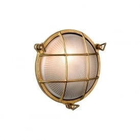 Alfie Lighting AL-ADM2 Adminal 1 Light Round Bulk Head Wall Light Brass IP64