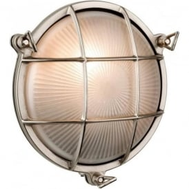 Alfie Lighting AL-ADM4 Adminal 1 Light Round Bulk Head Wall Light Nickel IP64