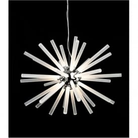 FirstLight 4882CH Starburst LED Pendant Chrome with Frosted Acrylic Shades