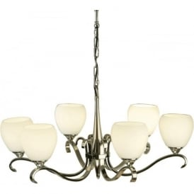 Interiors 63443 Columbia 6 Light Ceiling Pendant Polished Nickel