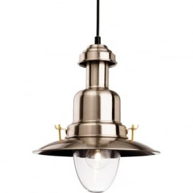 Firstlight 4874BS Fisherman Classic 1 Light Ceiling Pendant Brushed Steel