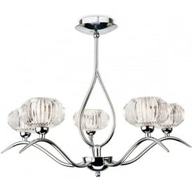 FirstLight 4858CH Lisbon 5 Light Flush Ceiling Pendant Polished Chrome