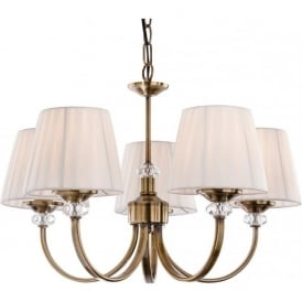 FirstLight 4863AB Langham 5 Light Ceiling Light Antique Brass