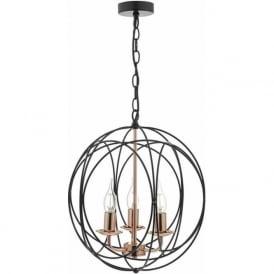 Dar PHO0322 Phoenix 3 Light Ceiling Pendant Black and Copper