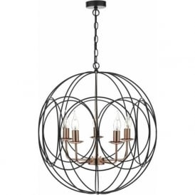 Dar PHO0522 Phoenix 5 Light Ceiling Pendant Black and Copper