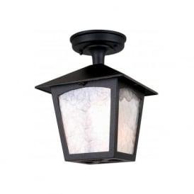Elstead BL6A York 1 Light Semi Flush Outdoor Porch Lantern Black IP23