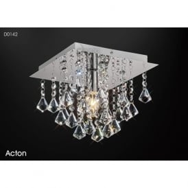 Diyas D0142 Acton Square 1 Light Ceiling Light Polished Chrome
