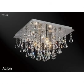 Diyas D0144 Acton Square 4 Light Ceiling Light Polished Chrome
