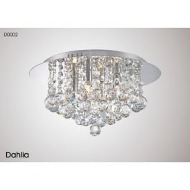 Diyas D0002 Dahlia 4 Light Flush Ceiling Light Polished Chrome