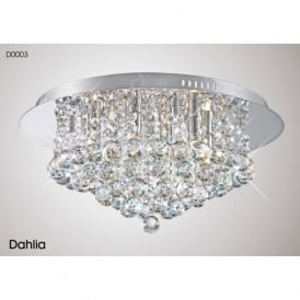 Diyas D0003 Dahlia 6 Light Flush Ceiling Light Polished Chrome