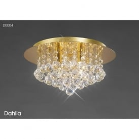 Diyas D0004 Dahlia 4 Light Flush Ceiling Light French Gold