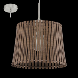 96197 Sendero 1 Light Ceiling Pendant Dark Brown Wood