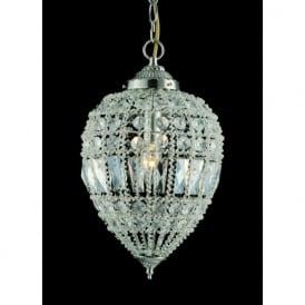 CO01219/01/L Bombay 1 Light Crystal Ceiling Pendant Satin Chrome (Large)