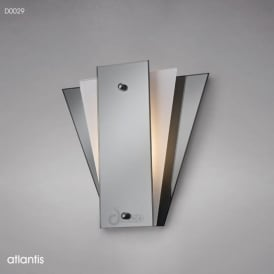 Diyas D0029 Atlantis 1 Light Wall Light Frosted/Smoked Mirrored Glass
