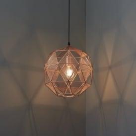 Endon 72815 Armour 1 Light Ceiling Pendant Copper