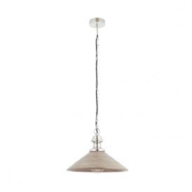 Endon 73076 Melbury 1 Light Ceiling Pendant Wood and Nickel