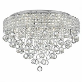 Dar MAT1350 Matrix 9 Light Semi-Flush Crystal Ceiling Light Polished Chrome