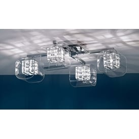 Impex Russell PGH01515/04/PL/CH Avignon 4 Light Ceiling Light Polished Chrome