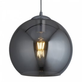 Searchlight 1621SM Balls 1 Light Ceiling Pendant Chrome Smoked Glass