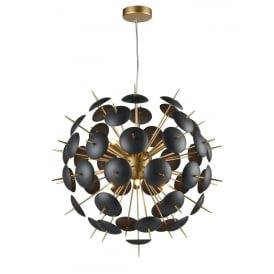 Franklite FL2386-12 Dandy 12 Light Ceiling Pendant Matt Gold
