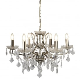 Searchlight 8736-6AB Paris 6 Light Chandelier Antique Brass