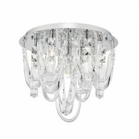 Dar ROX5050 Roxanne 7 Light Crystal Semi-Flush Ceiling Light Polished Chrome