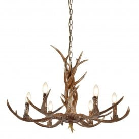 Searchlight 6416-6BR Stag 6 Light Ceiling Light Rustic Brown