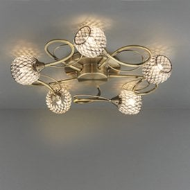 Endon 73757 Aherne 5 Light Semi Flush Ceiling Light Antique Brass Chrome