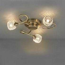 Endon 73758 Aherne 3 Light Semi Flush Ceiling Light Antique Brass Chrome