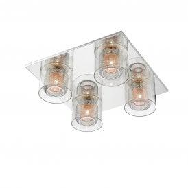 Impex PGH606101/04/PL/CH Laure 4 Light Ceiling Light Chrome