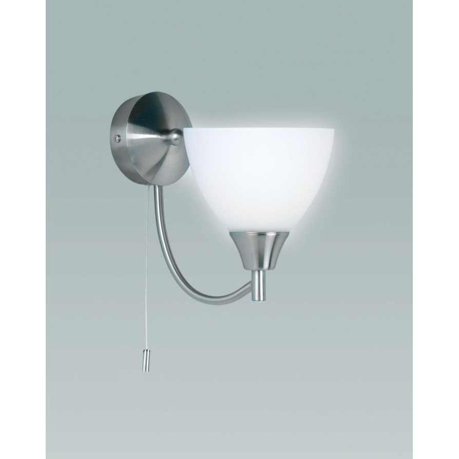 Self Switched Wall Lights : Endon 1805-1SC Alton 1 Light Satin Chrome Switched Wall Light