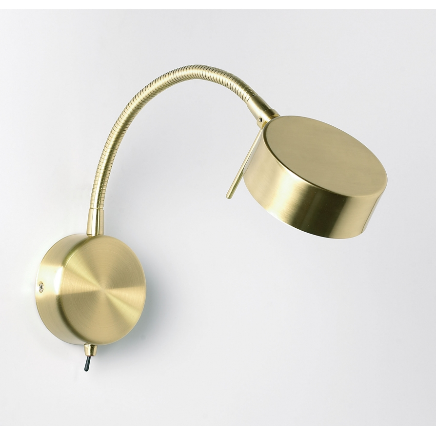 Satin Brass Wall Lights : Endon 102-WBSB 1 Light Modern Low Energy Wall Light Satin Brass