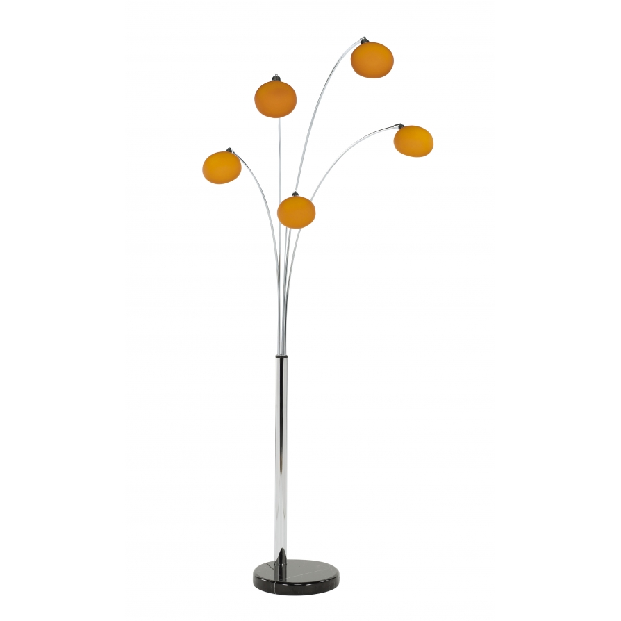 buy orange lounge  modern floor lamp - retro lighting lfloororange  light modern floor lamp orange glass shadesblack marble base ‹