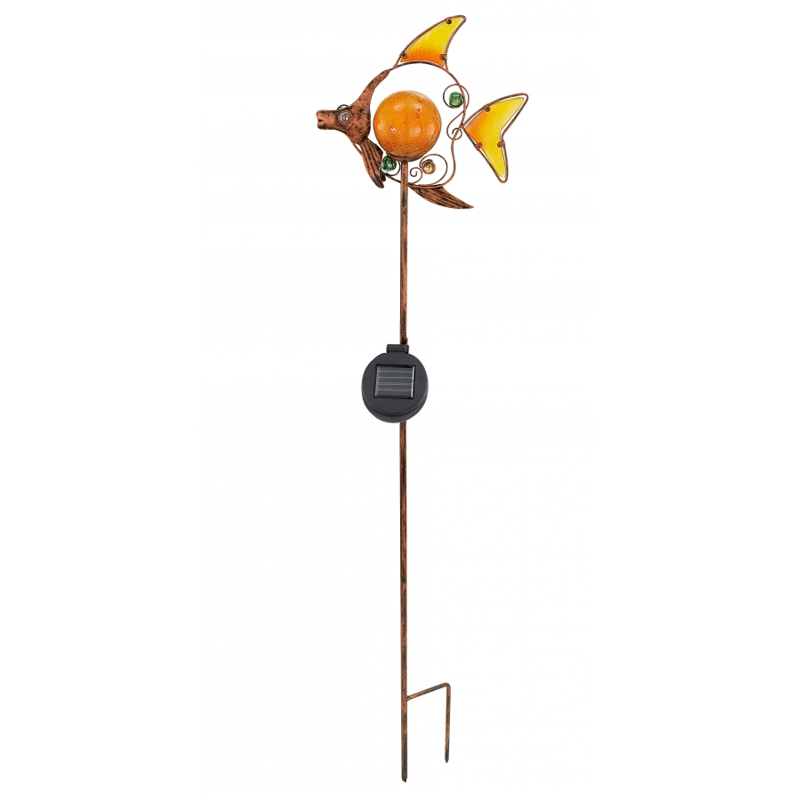 Eglo 47098 solar light 1 light modern outdoor led solar spike light 39 fish 39 bronze finish yellow - Modern outdoor solar lights ...