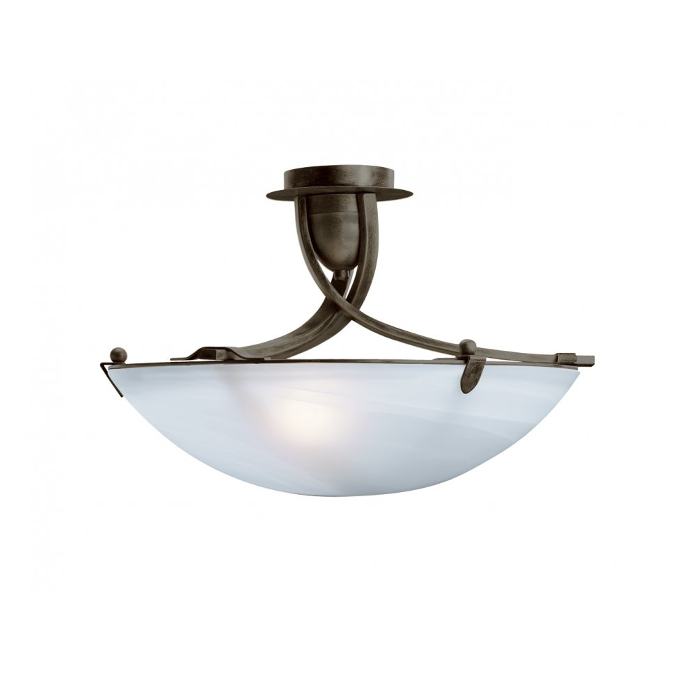 Ceiling Lights Semi Flush : Searchlight br olympia light rustic brown semi
