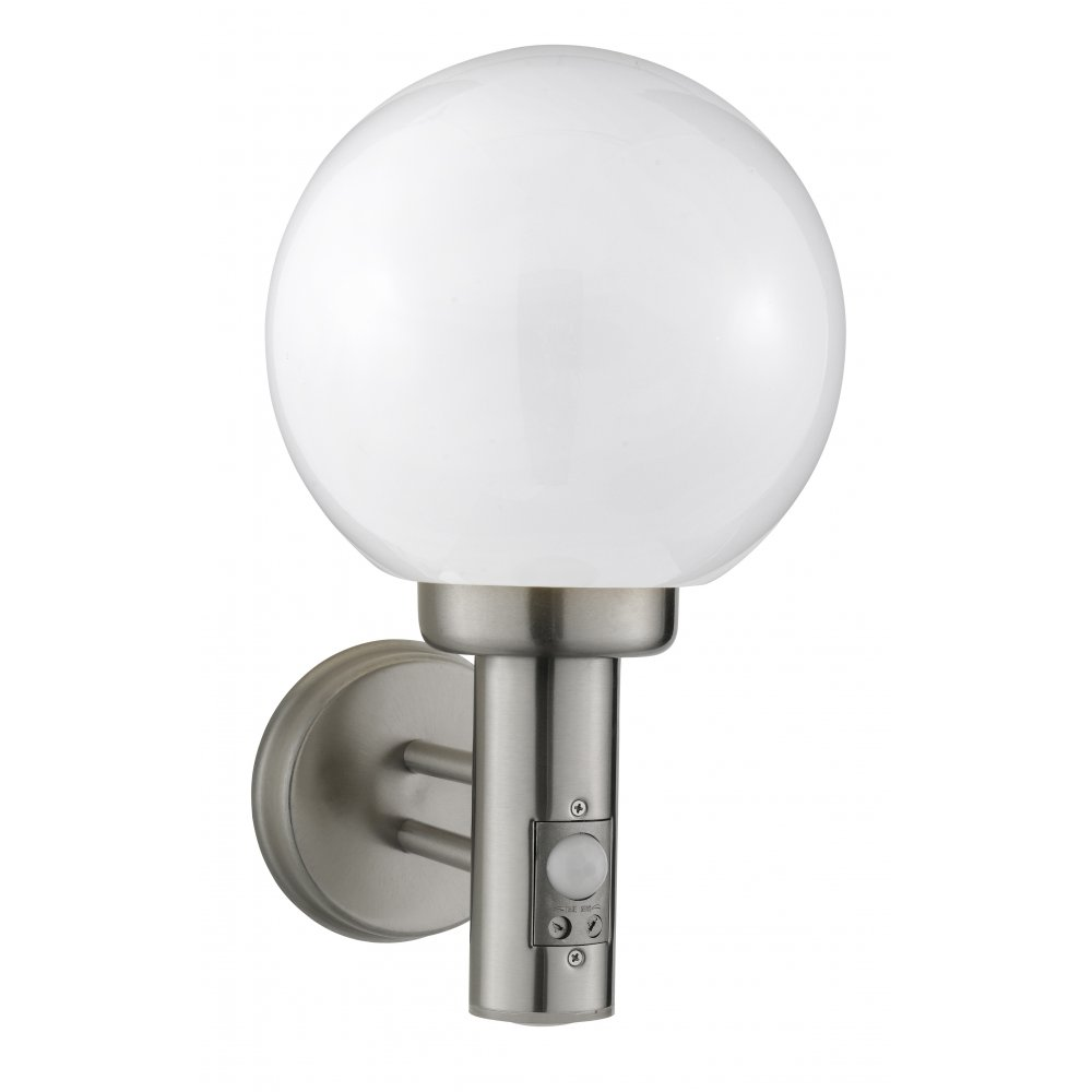 Brushed Chrome Outdoor Wall Lights : Searchlight 085 Outdoor Wall Light With Motion Sensor