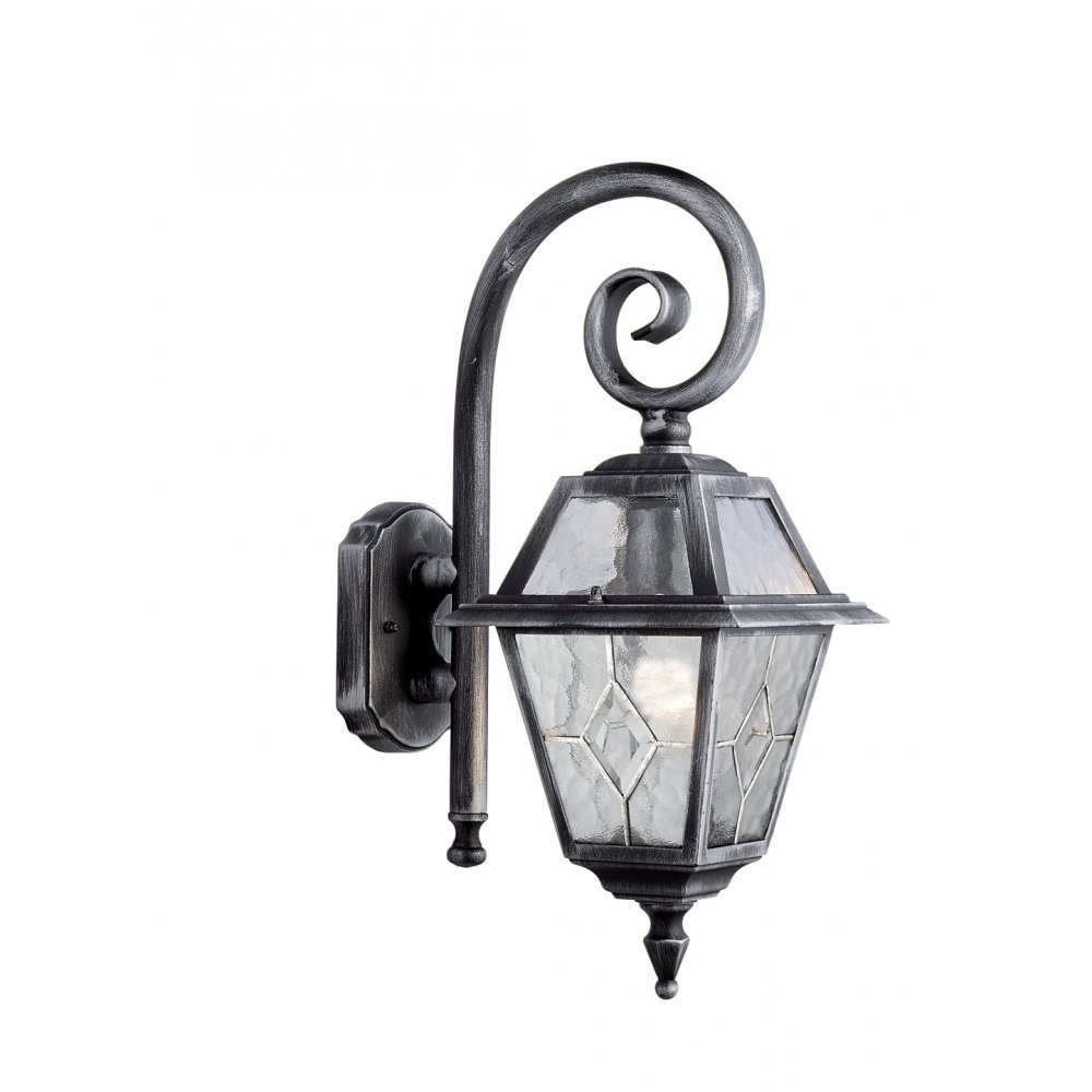Searchlight 1515 Genoa 1 Light Outdoor Wall IP23 Rated Lead Glass Black Silver