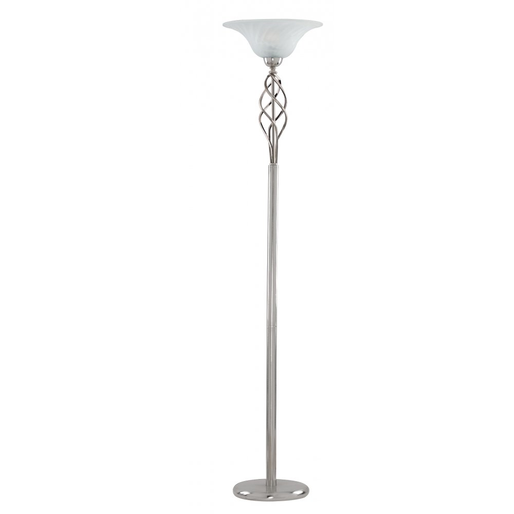 Uplighter Floor Lamps Uk: Searchlight 6021SS Uplighters & Floor Light 1 Light Floor Lamp Satin Silver,Lighting
