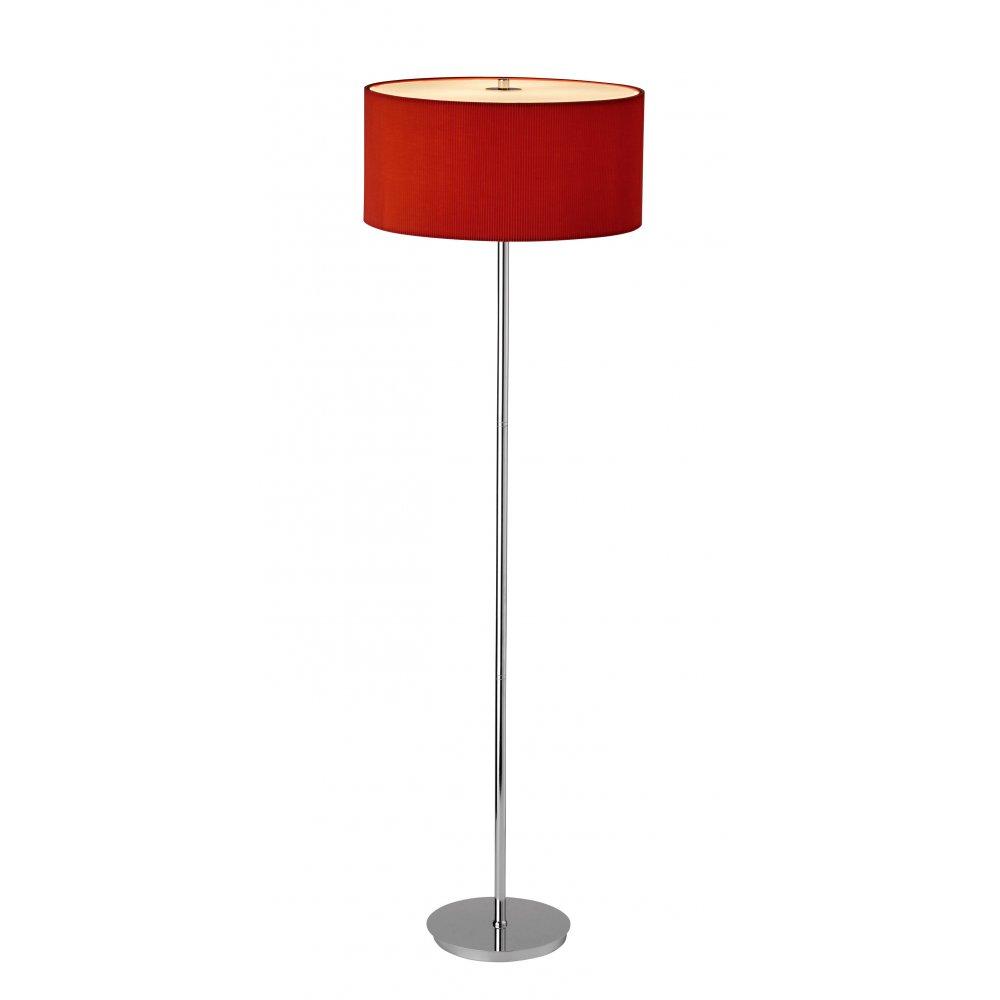 Dar ZAR4925   Zaragoza Red/Chrome Modern Floor Lamp
