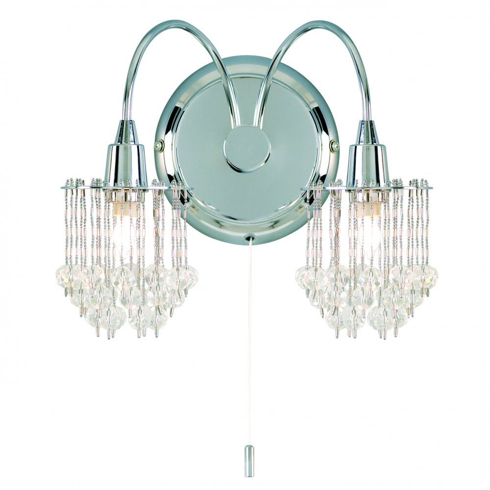 Switched Plaster Wall Lights : Endon 850-2CH 2 Light Wall Light Switched Crystal Wall Light Chrome