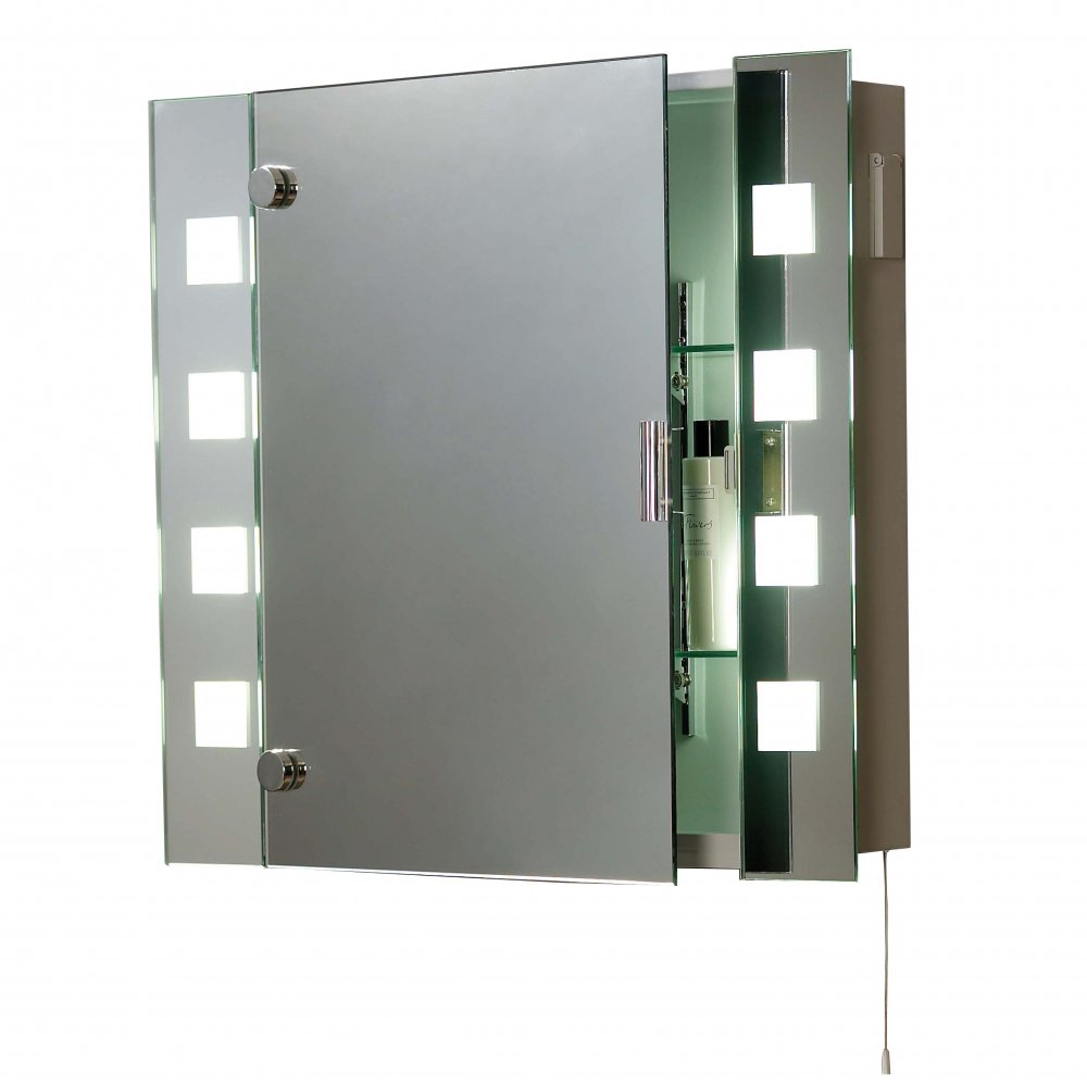 El milos low energy bathroom cabinet 2 light switched mirror cabinet for Bathroom cabinet mirror with lights