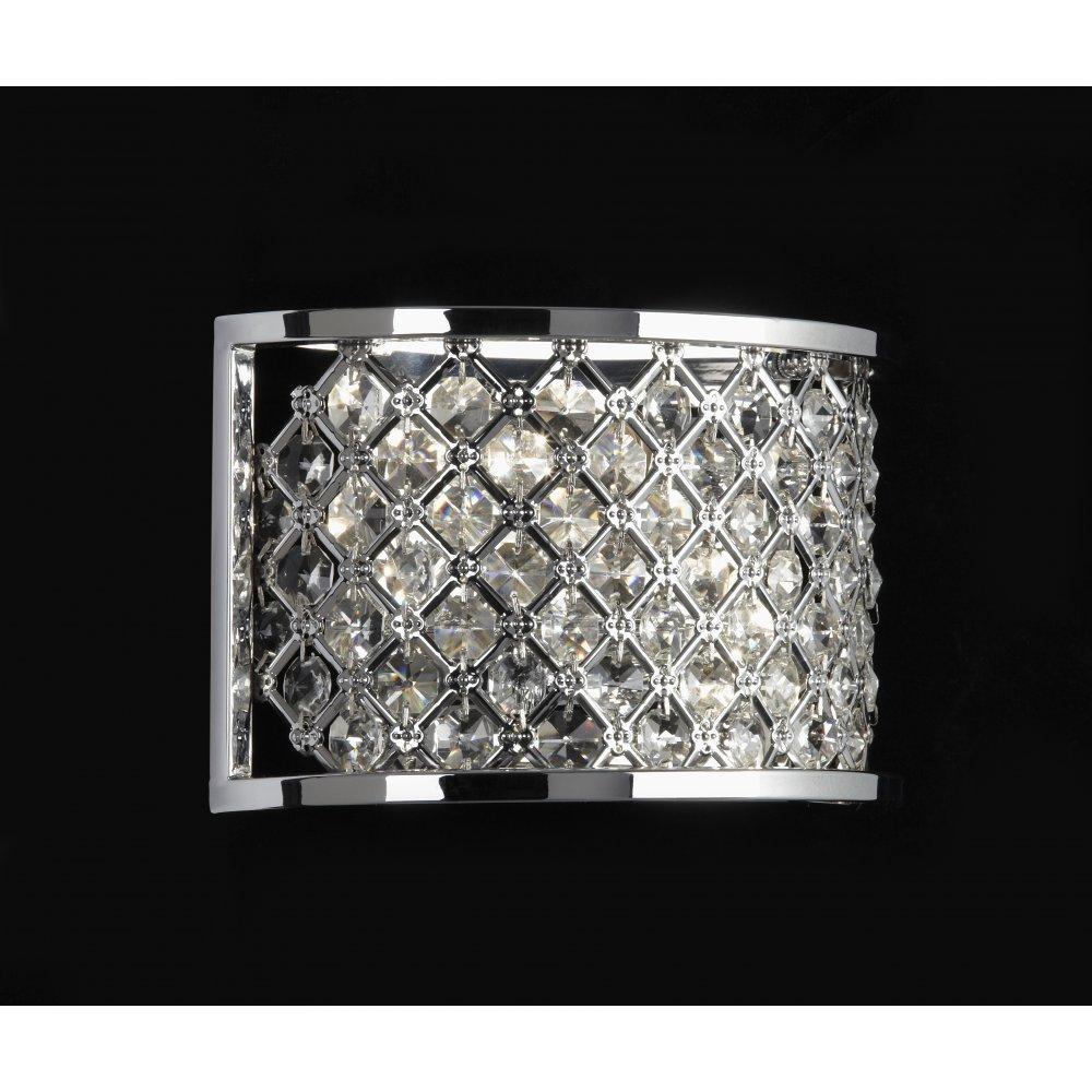 Endon Crystal Wall Lights : Endon HUDSON-2WBCH Wall Light Hudson 2 Light Crystal Wall Light
