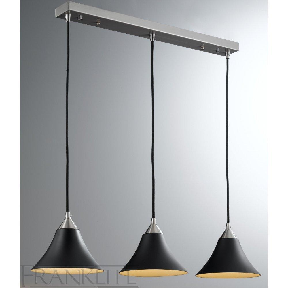 FL2290/3/923 | 3 Light Black/Gold Pendant | Franklite Vetross