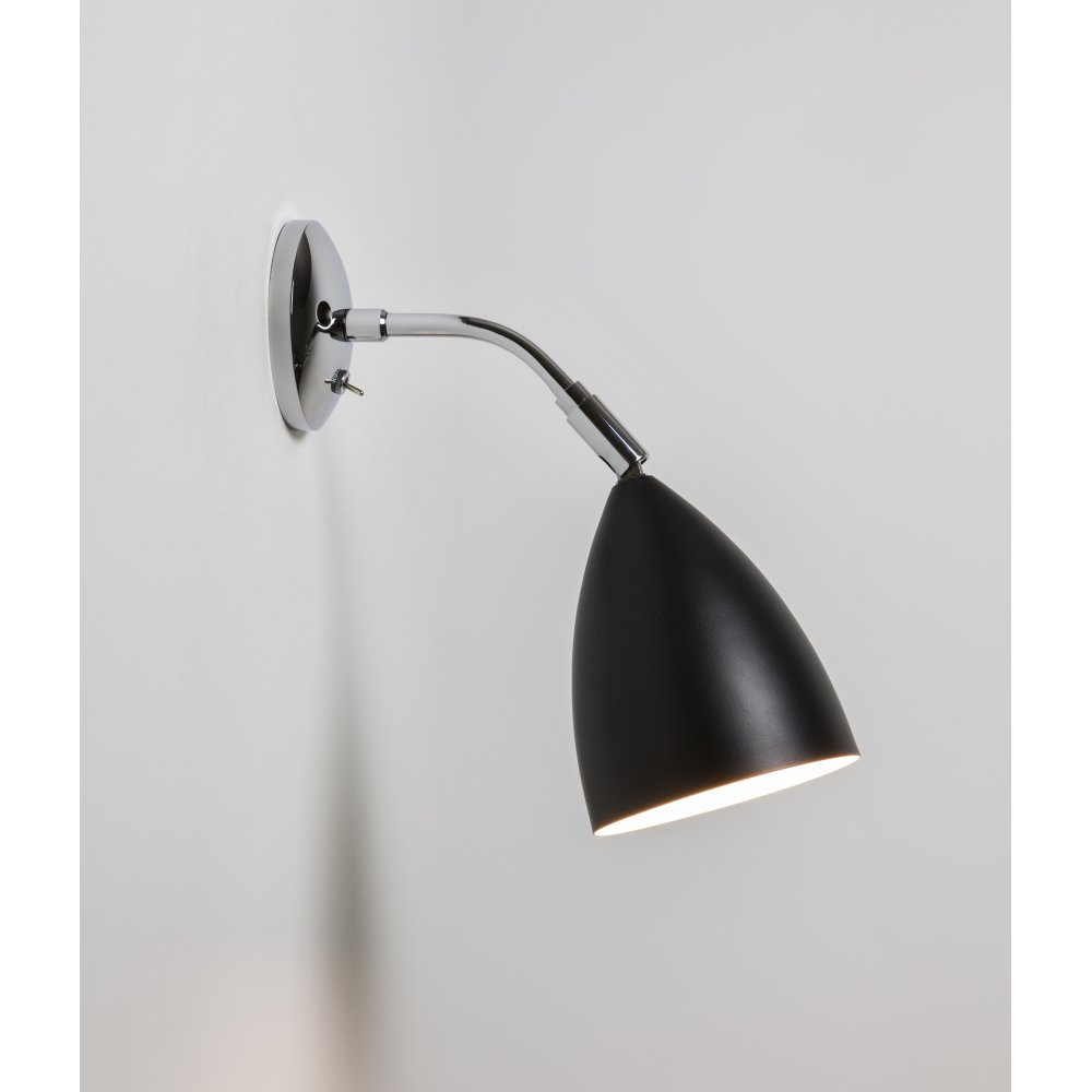 Astro 7157 joel wall switched wall light blackpolished chrome astro 7157 joel wall 1 light switched wall light black and polished chrome audiocablefo
