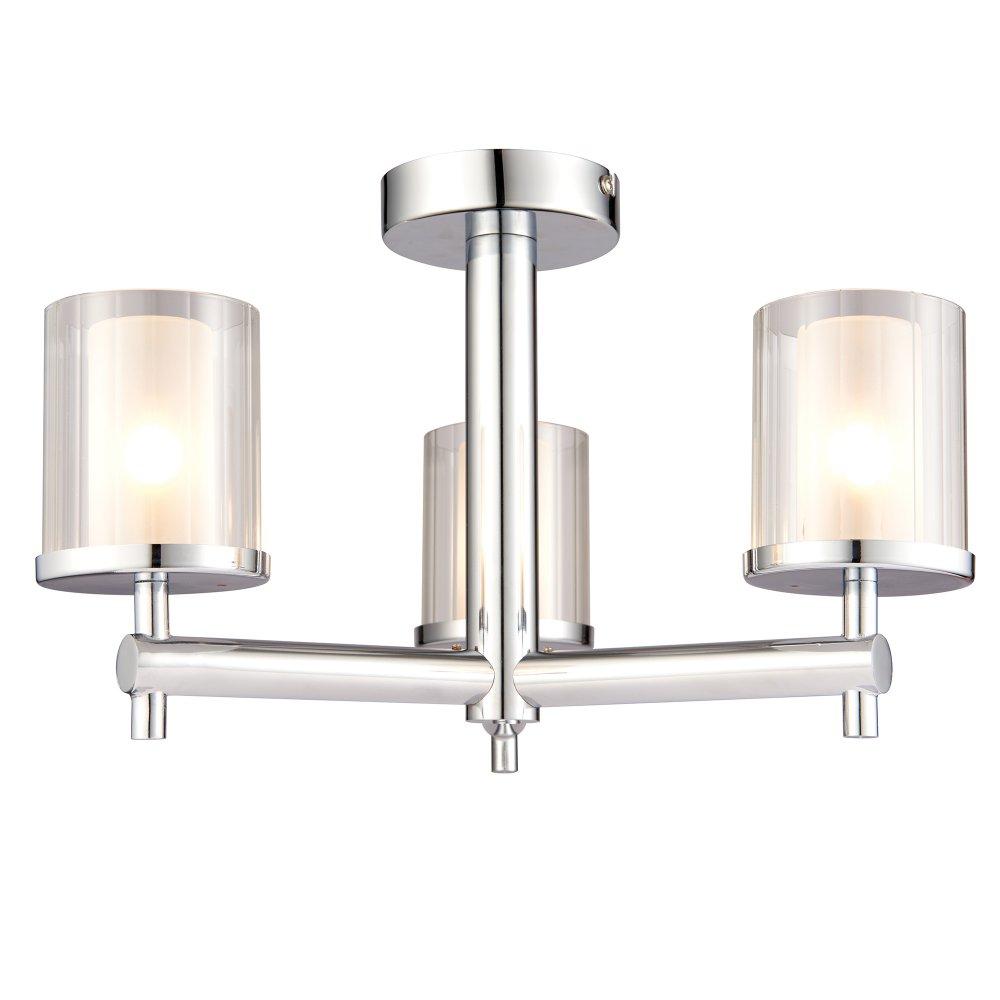 Endon 51886 Britton 3 Light Polished Chrome Semi Flush Ceiling Light