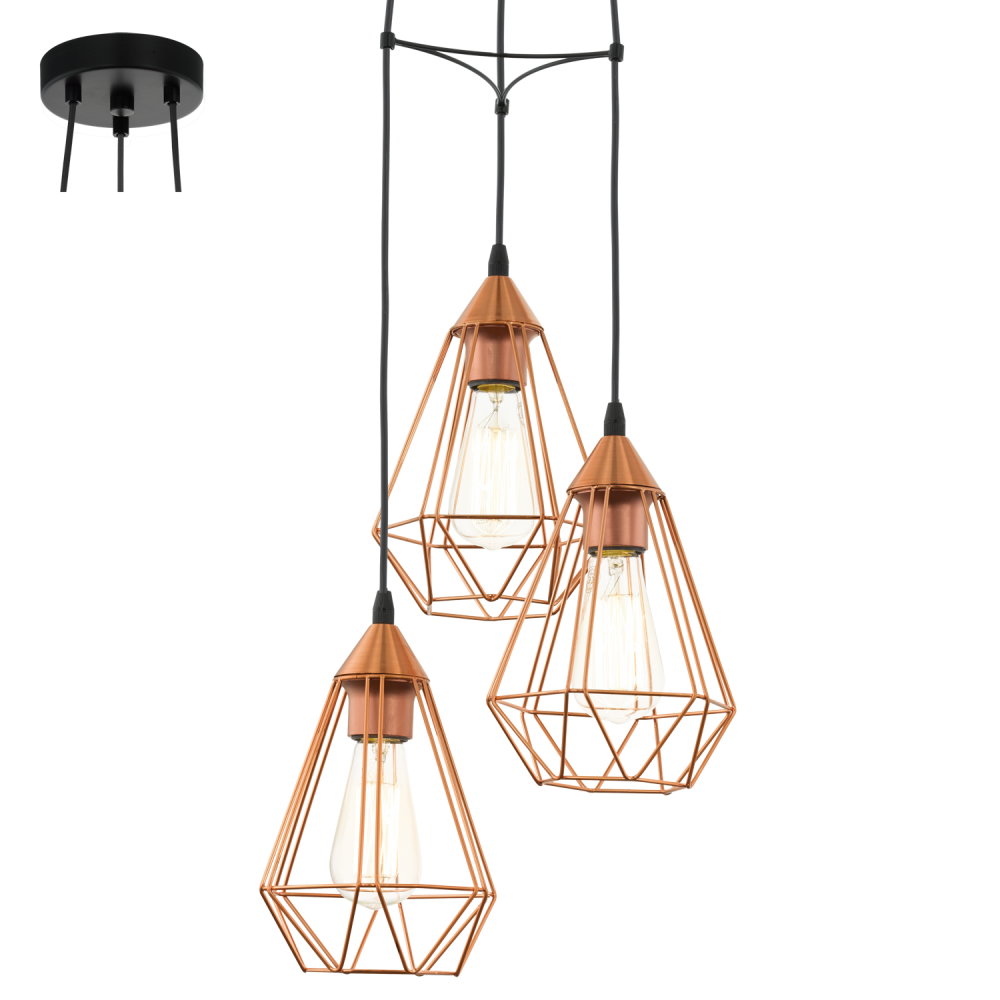 Eglo 94196 Tarbes 3 Light Ceiling Pendant Copper
