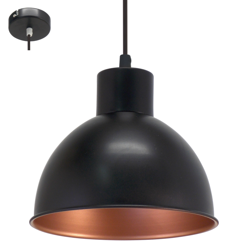 Eglo 49238 Truro1 1 Light Ceiling Pendant Black Copper
